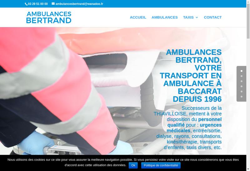 Capture d'écran du site de Ambulances Bertrand