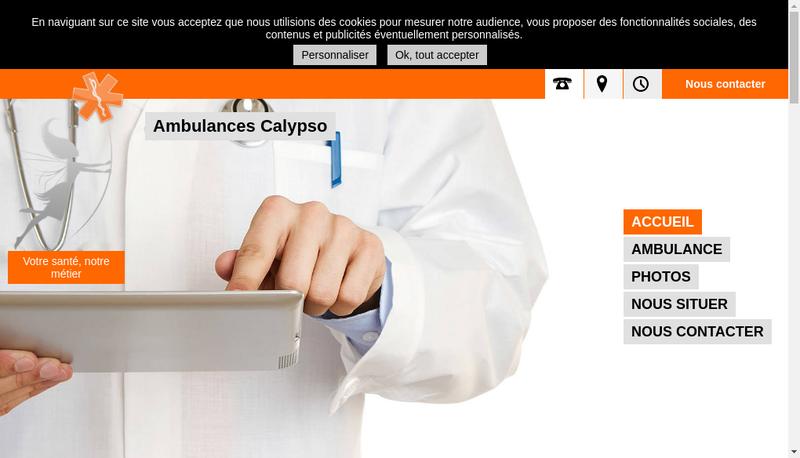Capture d'écran du site de Ambulances Calypso