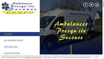 Site internet de Ambulances Presqu'Ile Secours
