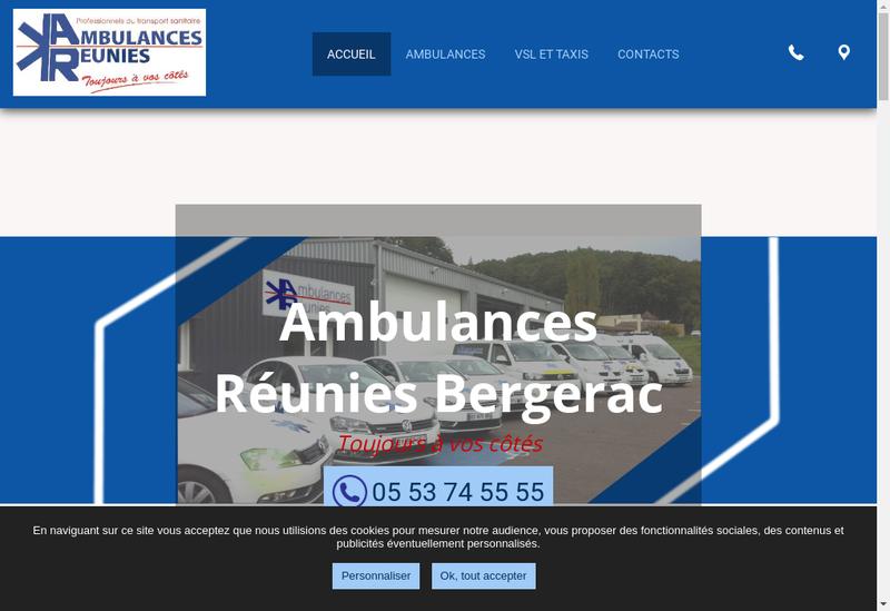 Capture d'écran du site de Ambulances Reunies