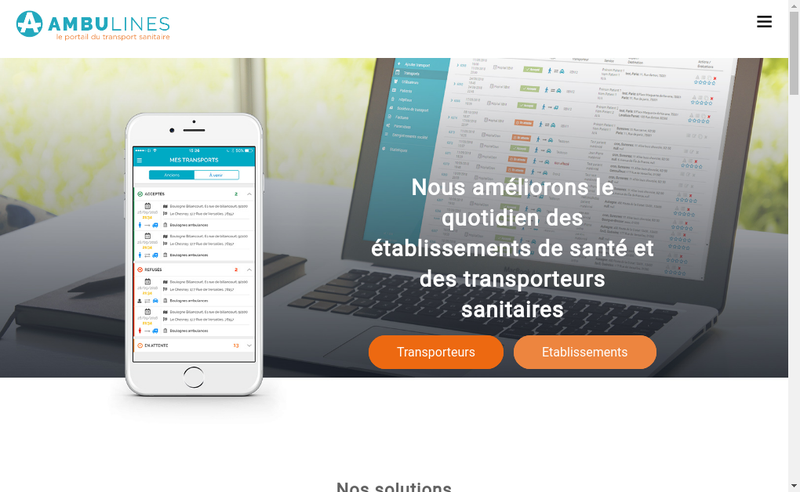 Capture d'écran du site de Ambulines