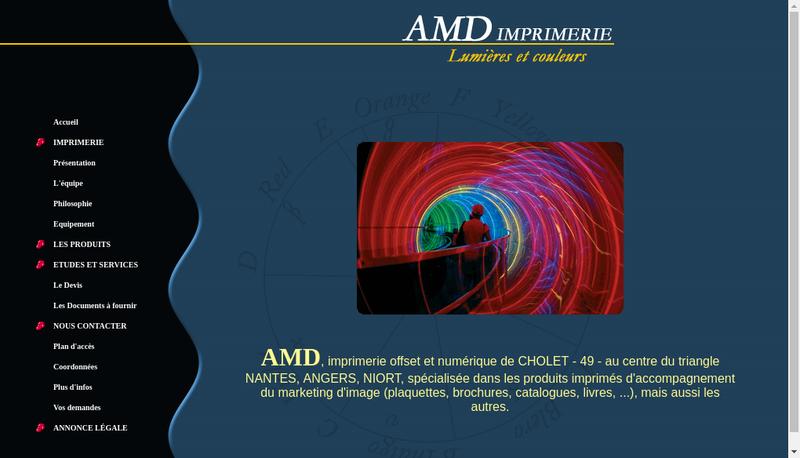 Capture d'écran du site de Amd Imprimerie