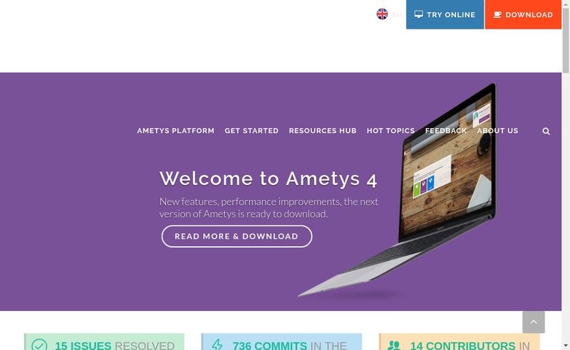 Capture d'écran du site de Ametys
