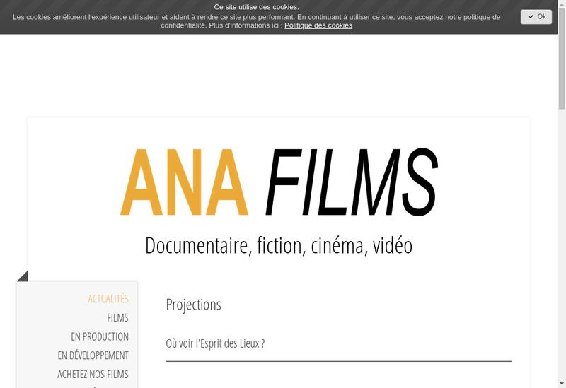 Capture d'écran du site de Ana Films