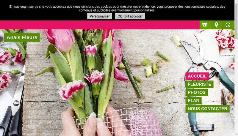 Capture d'écran du site de Anais Fleurs