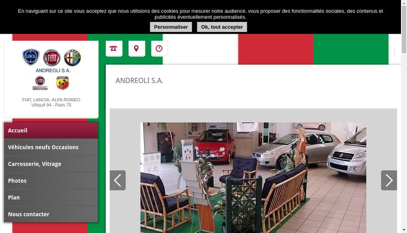 Capture d'écran du site de SA Andreoli