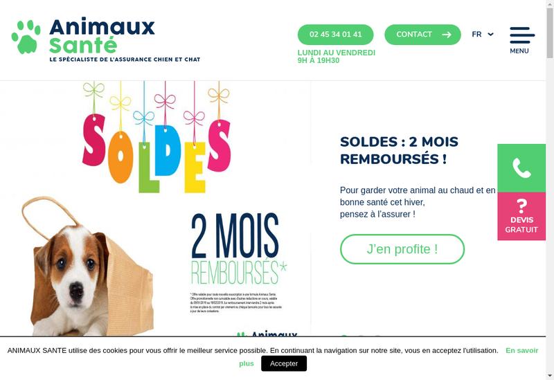 Capture d'écran du site de Finaxy Sante Animale