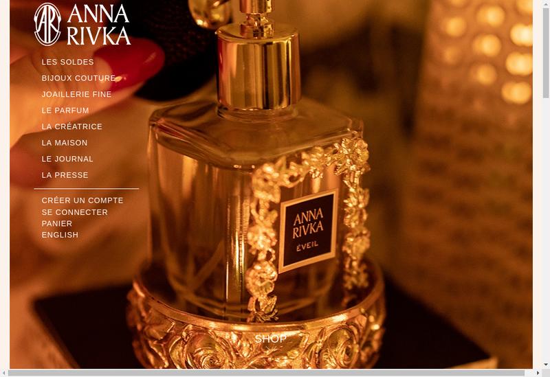 Capture d'écran du site de Anna Rivka