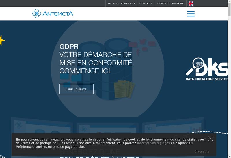 Capture d'écran du site de Antemeta Finances