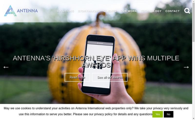 Capture d'écran du site de Antenna International