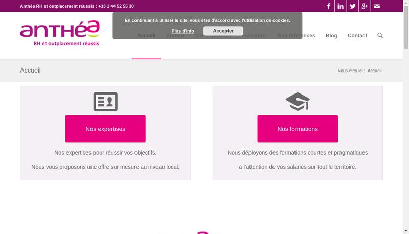 Capture d'écran du site de Anthea Rh Conseils