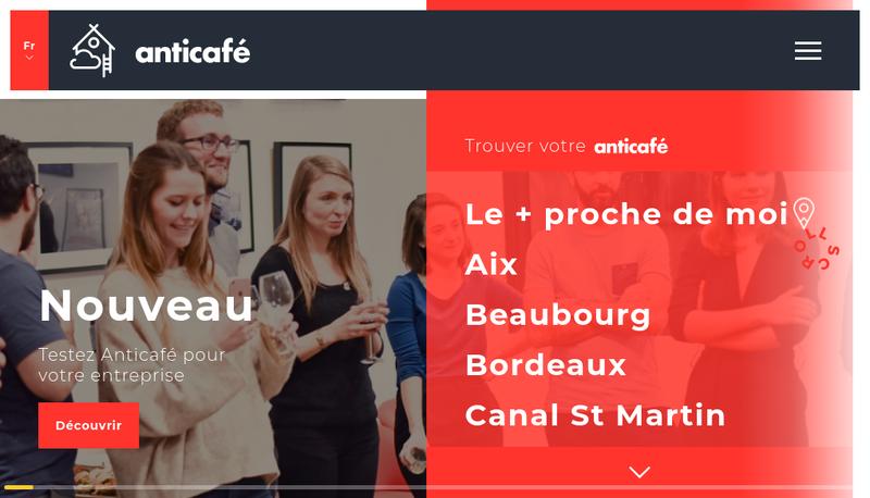Capture d'écran du site de Anticafe & Co