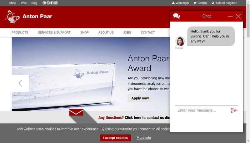 Capture d'écran du site de Anton Paar France