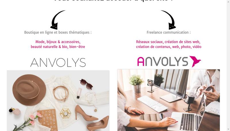 Capture d'écran du site de Anvolys