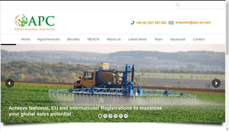 Capture d'écran du site de Agchem Project Consulting
