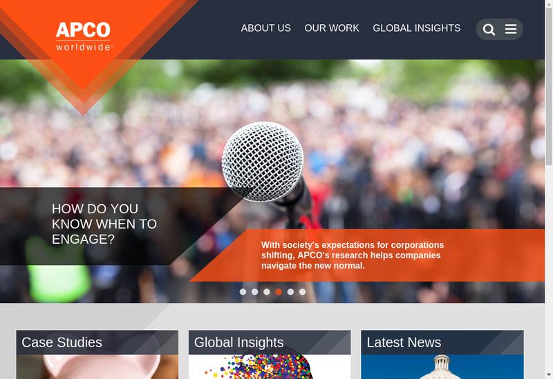 Capture d'écran du site de Apco Worldwide