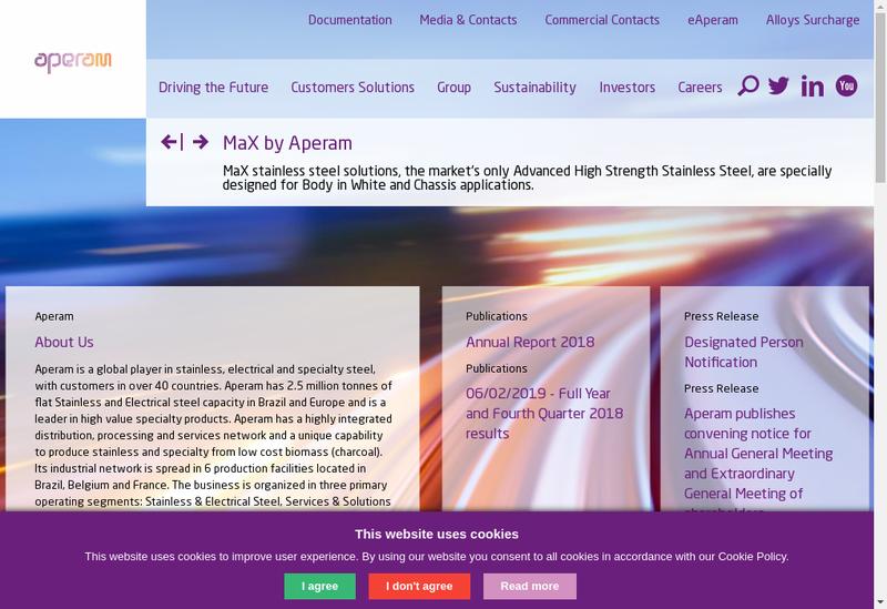 Capture d'écran du site de Aperam Stainless Services & Solutions