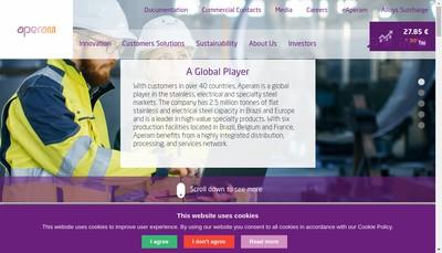 Site internet de Aperam Alloys Rescal