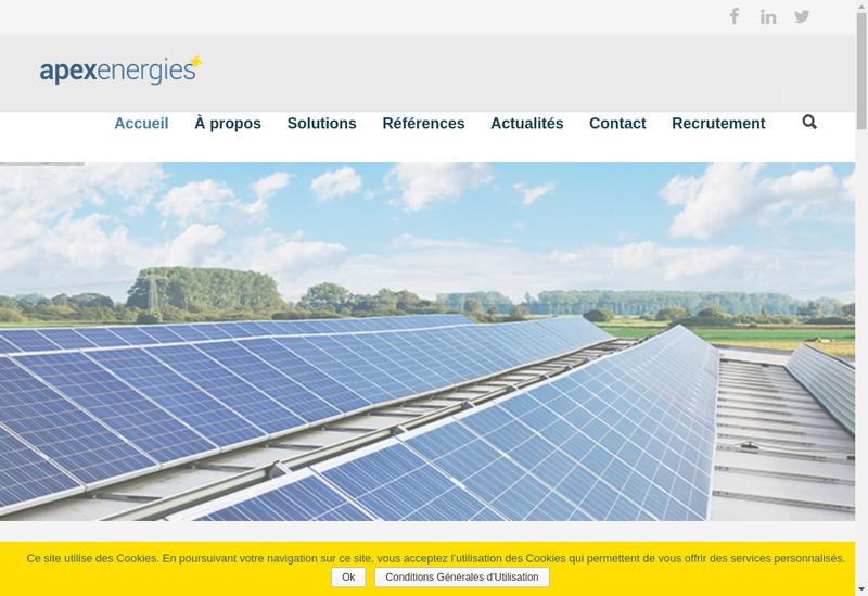 Capture d'écran du site de Apex Energies