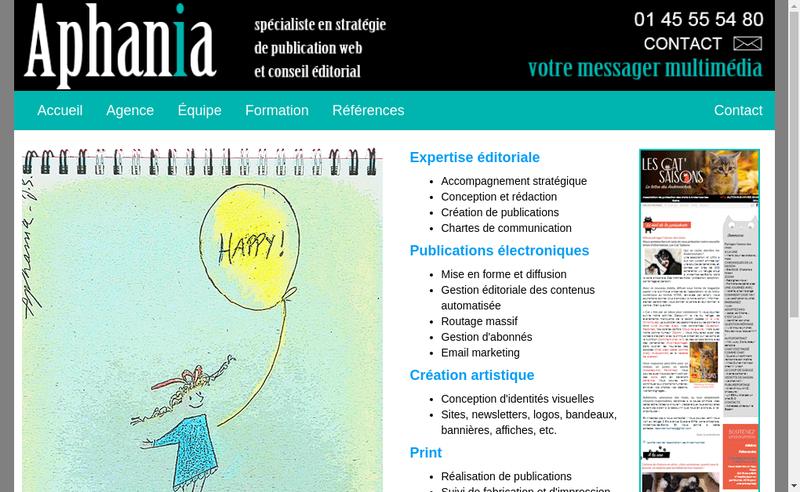 Capture d'écran du site de Aphania