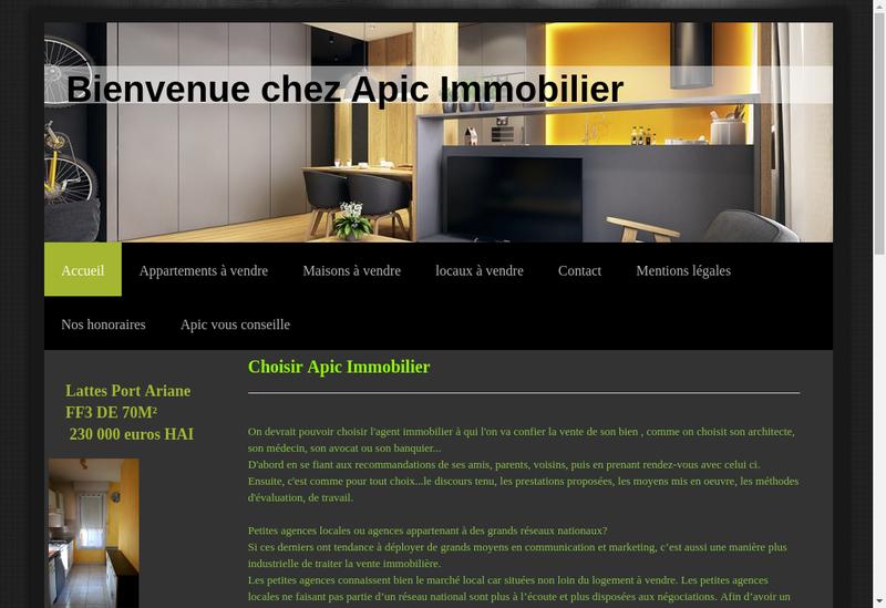 Capture d'écran du site de APIC
