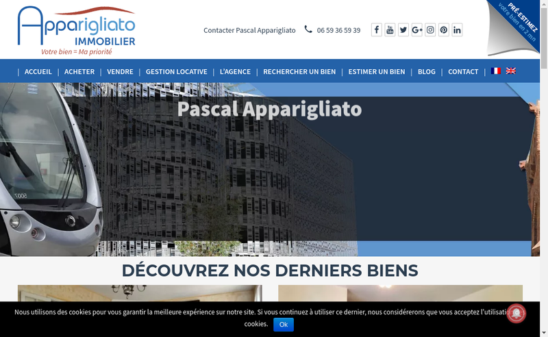 Capture d'écran du site de Apparigliato Immobilier