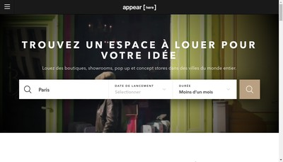Site internet de Appear Here France