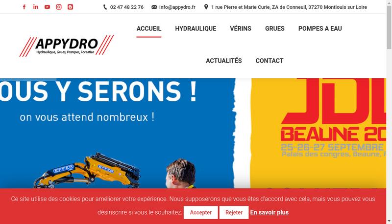 Capture d'écran du site de Appydro