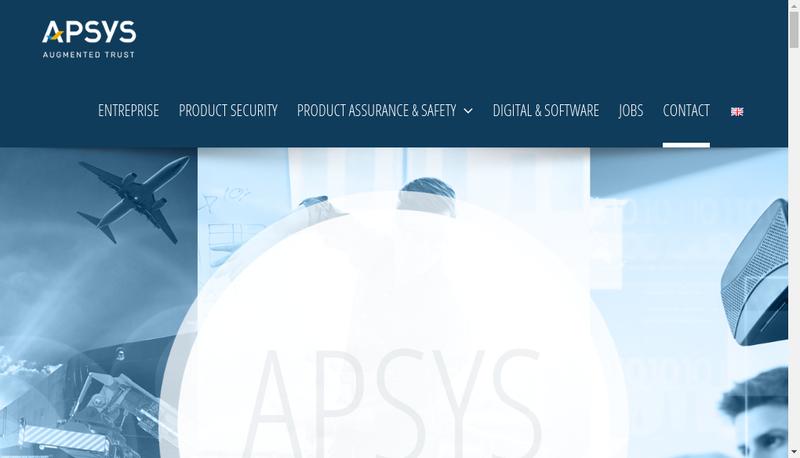 Capture d'écran du site de Apsys