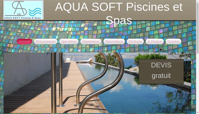 Capture d'écran du site de Aqua Soft Piscines & Spas
