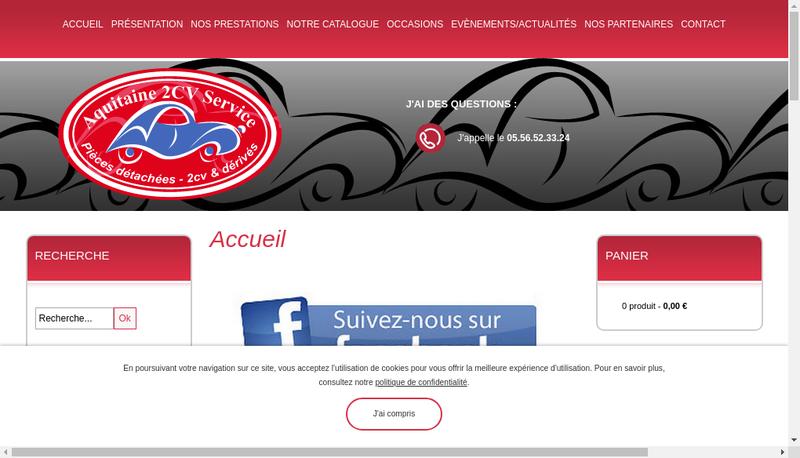 Capture d'écran du site de Aquitaine 2Cv Service