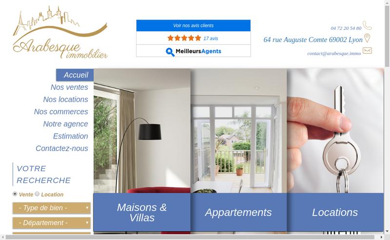 Capture d'écran du site de Arabesque Immobilier