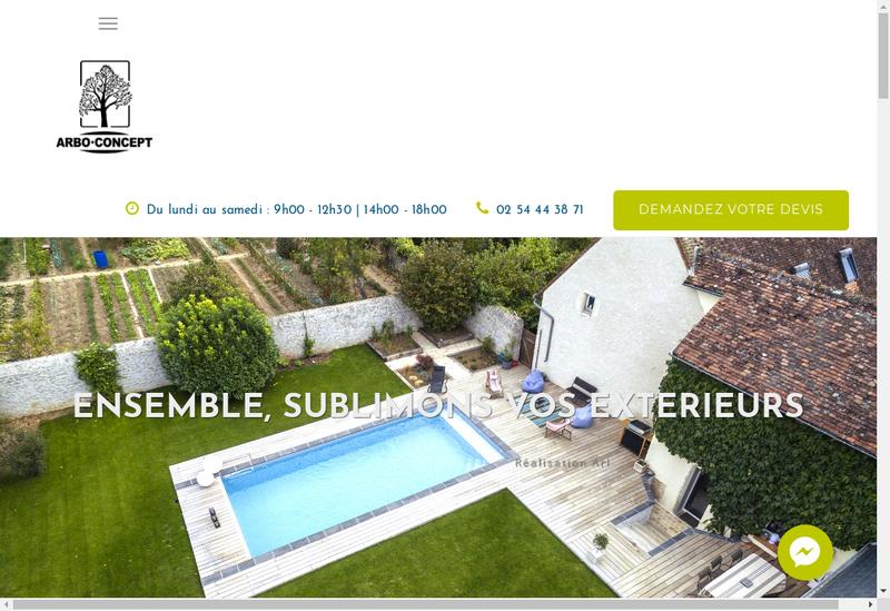 Capture d'écran du site de Arbo Concept
