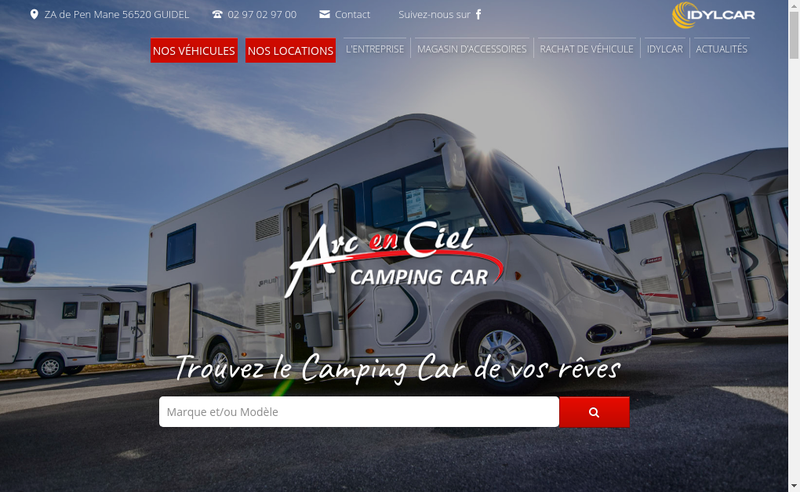 Capture d'écran du site de Arc en Ciel Camping Cars