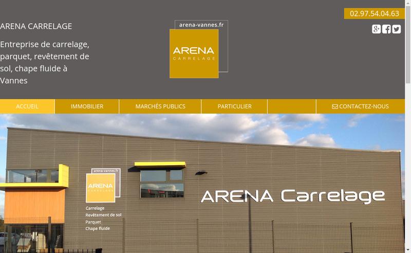 Capture d'écran du site de Arena Carrelage