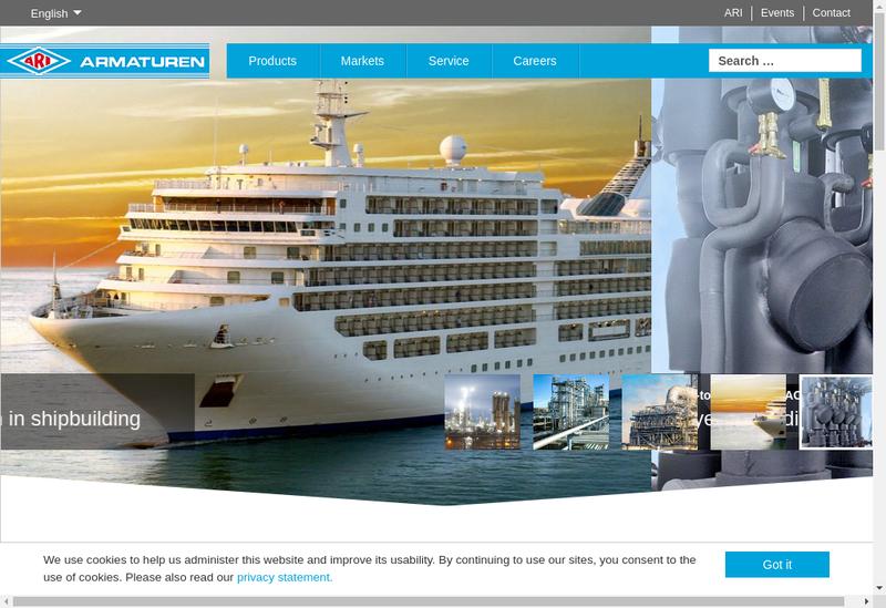 Capture d'écran du site de Ari Armaturen France