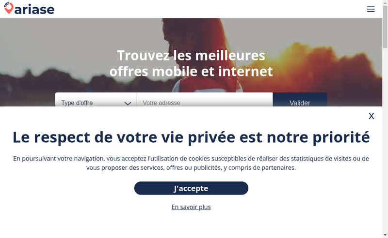 Capture d'écran du site de Ariase