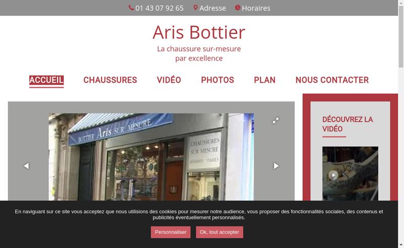 Capture d'écran du site de Aris Bottier