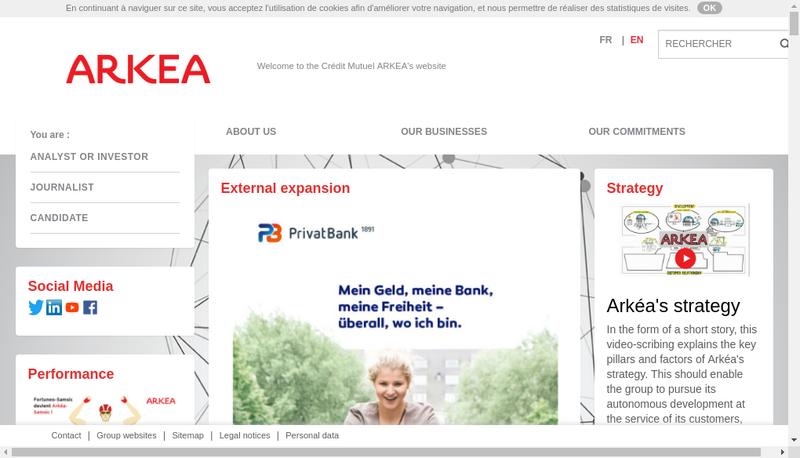 Capture d'écran du site de Arkea Scd