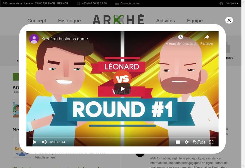 Capture d'écran du site de Arkhe International
