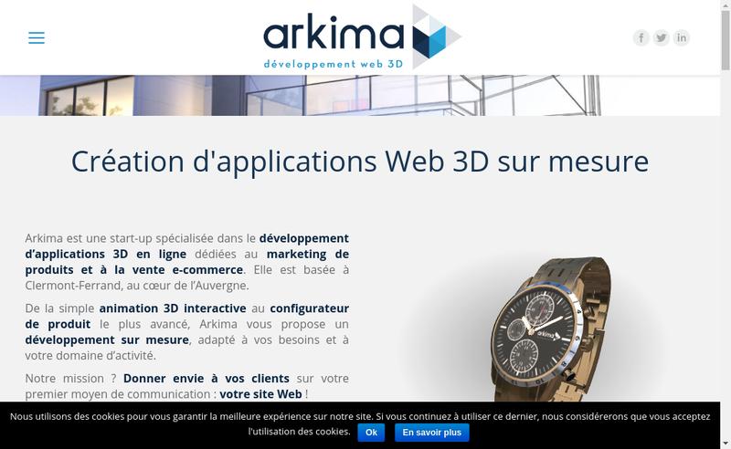 Capture d'écran du site de Arkima
