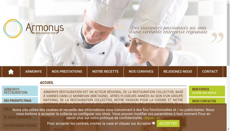Capture d'écran du site de Armonys Restauration