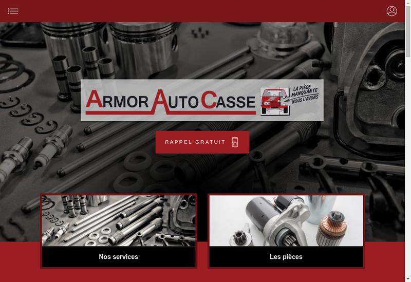 Capture d'écran du site de Armor Auto Casse