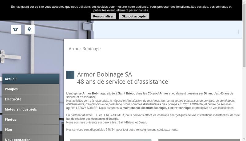 Capture d'écran du site de Armor Bobinage SARL