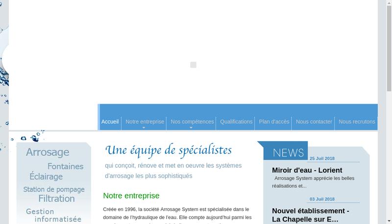 Capture d'écran du site de Arrosage System