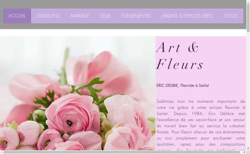 Capture d'écran du site de Art et Fleurs