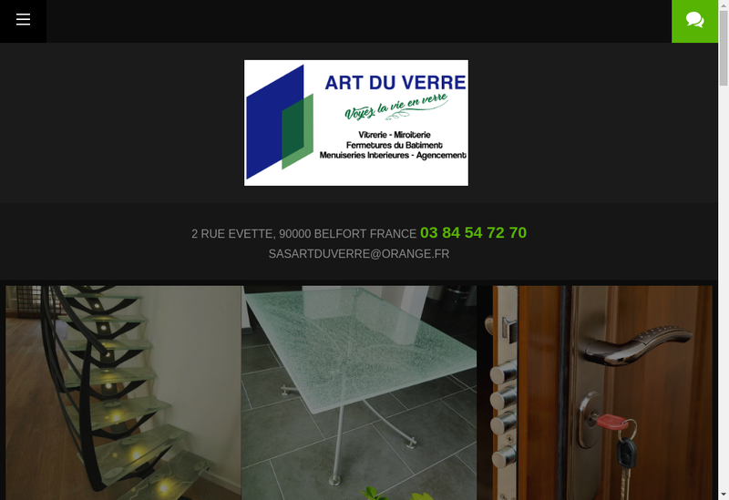 Capture d'écran du site de Art du Verre