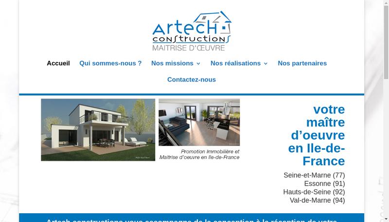 Capture d'écran du site de SAS Artech Constructions