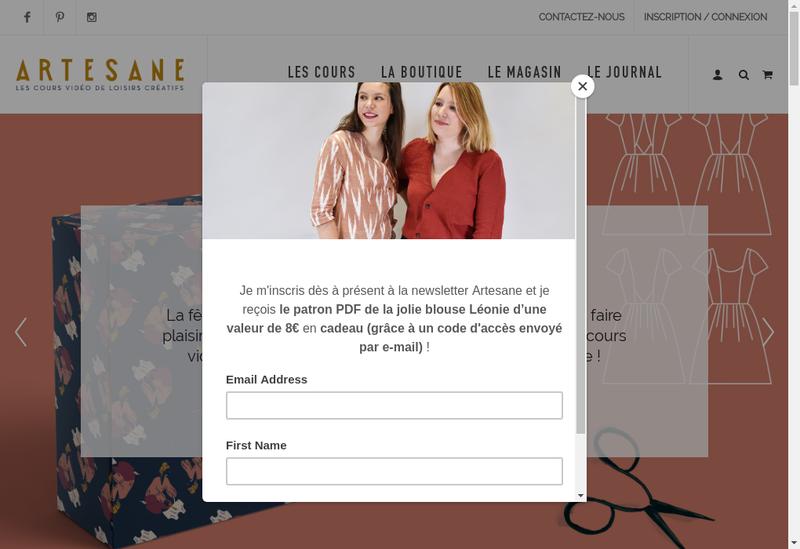 Capture d'écran du site de Artesane
