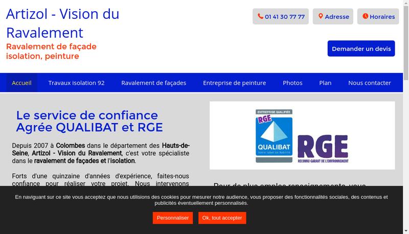 Capture d'écran du site de Artizol